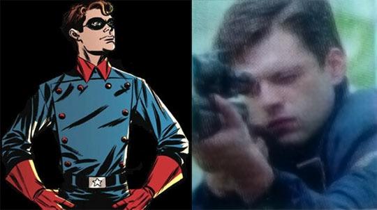"""El personaje de James """"Bucky"""" Barnes en el comic y el film."""